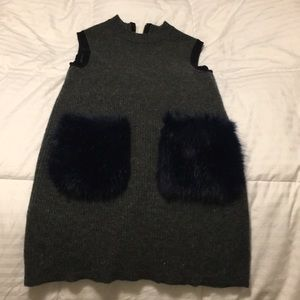 Crewcuts grey with navy fur pockets dress